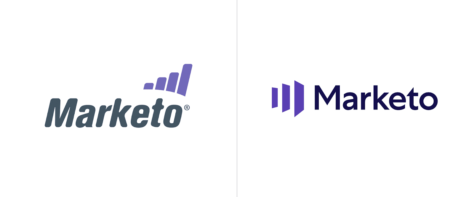 "Former Marketo logo on the left featuring a more ""quirky"" font and a more staid update on the right."