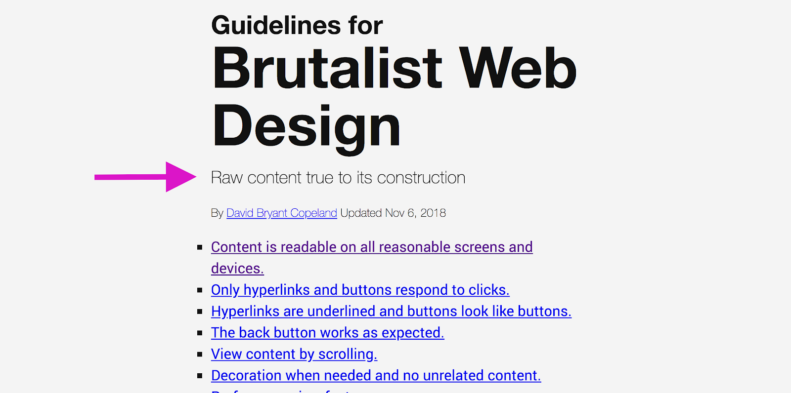 "Guidelines for Brutalist Web Design with pink arrow pointing to copy that reads, ""Raw content true to its construction"""
