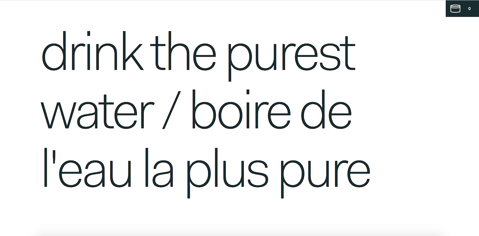 "Rolling Flowers landing page text that fills the hero section and reads, ""drink the purest water / boire de l'eau la plus pure"""