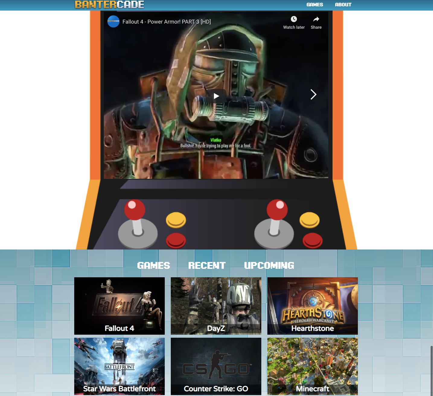 Bantercade homepage.