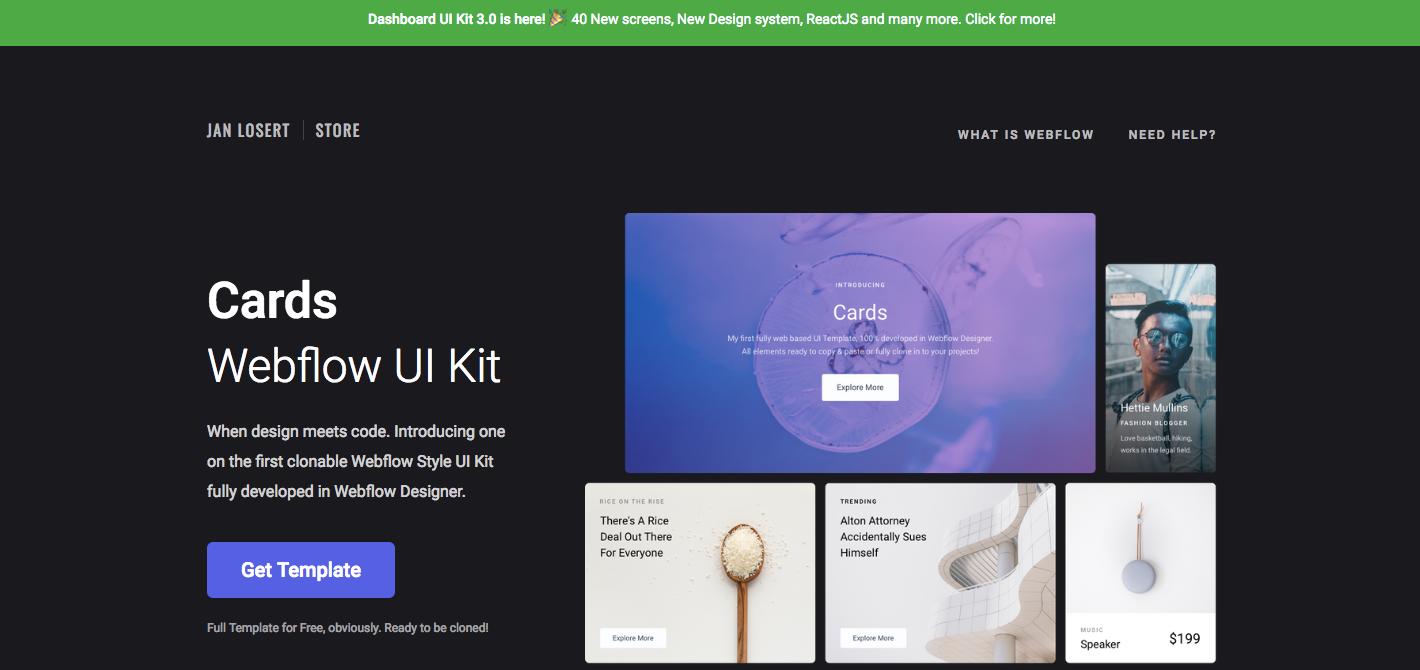 Cards Webflow UI Kit homepage.
