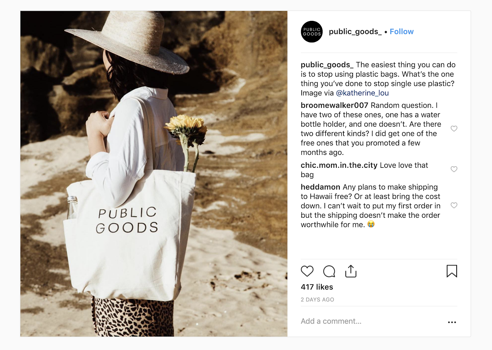 "Public Goods instagram photo of a woman at the beach, carrying a branded Public Goods bag. The caption reads: ""The easiest thing you can do is to stop using plastic bags. What's the one thing you've one to stop using single-use plastic?"""