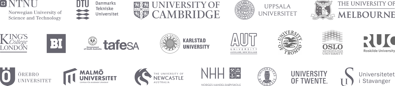 Illustration of multiple university logos