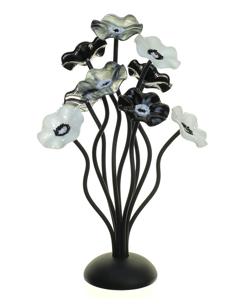 Small 9 flower centerpiece small 9 black black white 102 izmirmasajfo