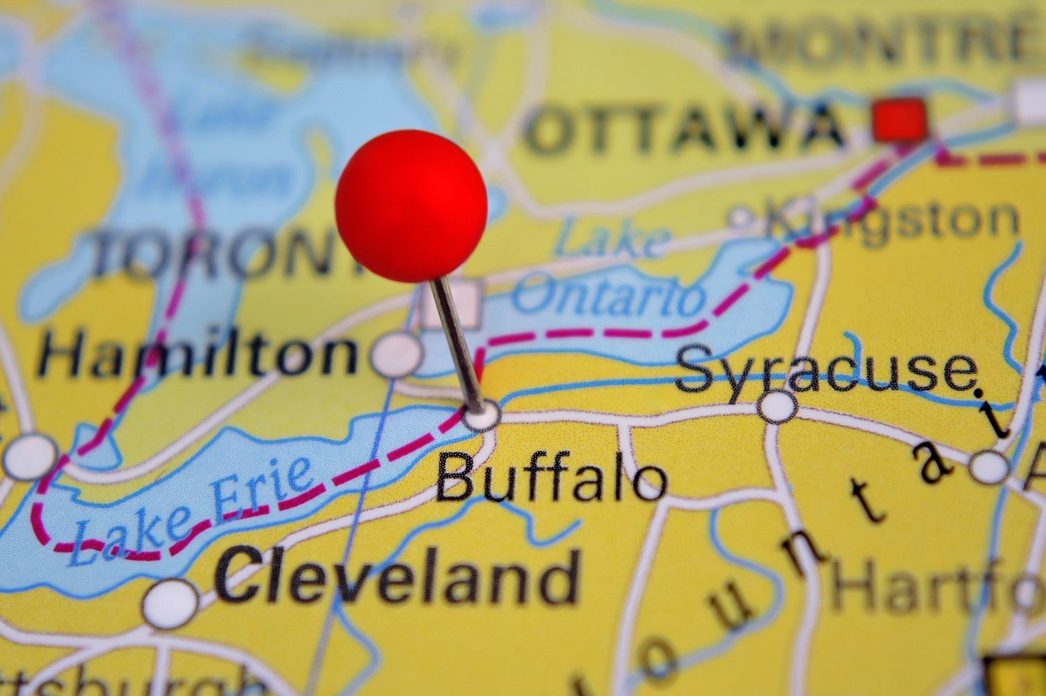 Buffalo pinned on a map