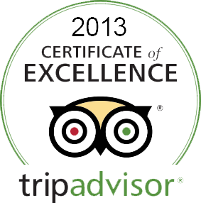 Trip Advisor 2013 Certificate of Excellence Award