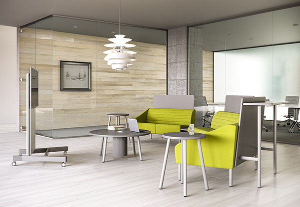 Izzy's Sylvi Cafe Booth's laminated back panels create a space within a space.