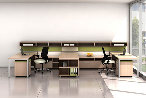 Trendway's Trig benching system: countless storage options complement the open work environment.