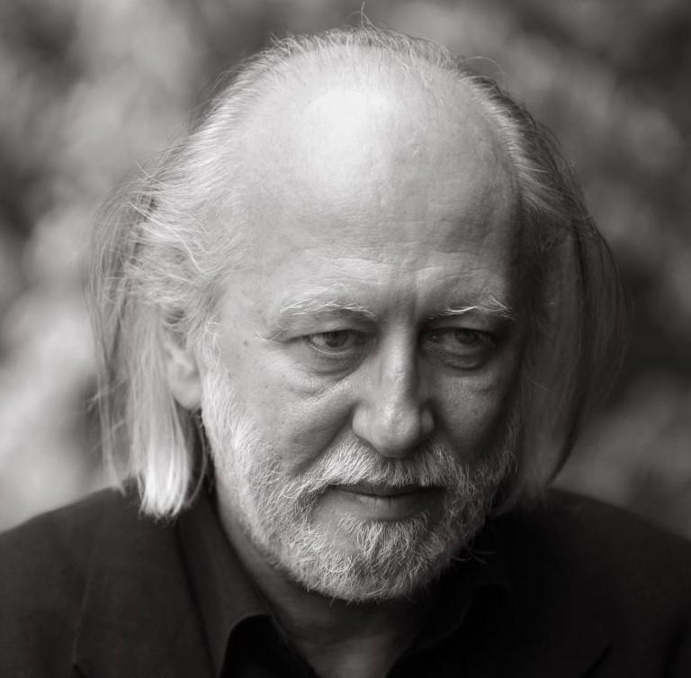 A photograph of Hungarian writer László Krasznahorkai