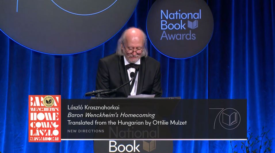 A screenshot of László Krasznahorkai accepting the 2019 National Book Award in Translated Literature