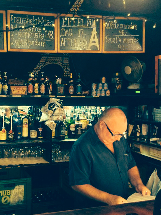 The owner at the beautiful Eiffel Bar, Copenhagen.