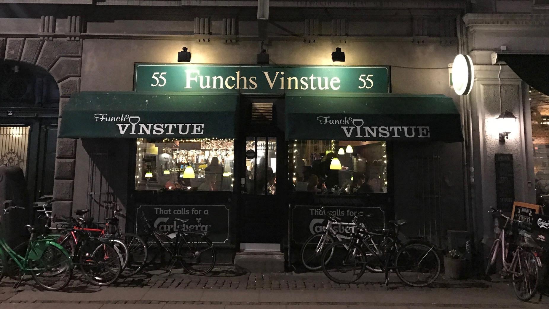 Outside Funchs Vinstue in Copenhagen.