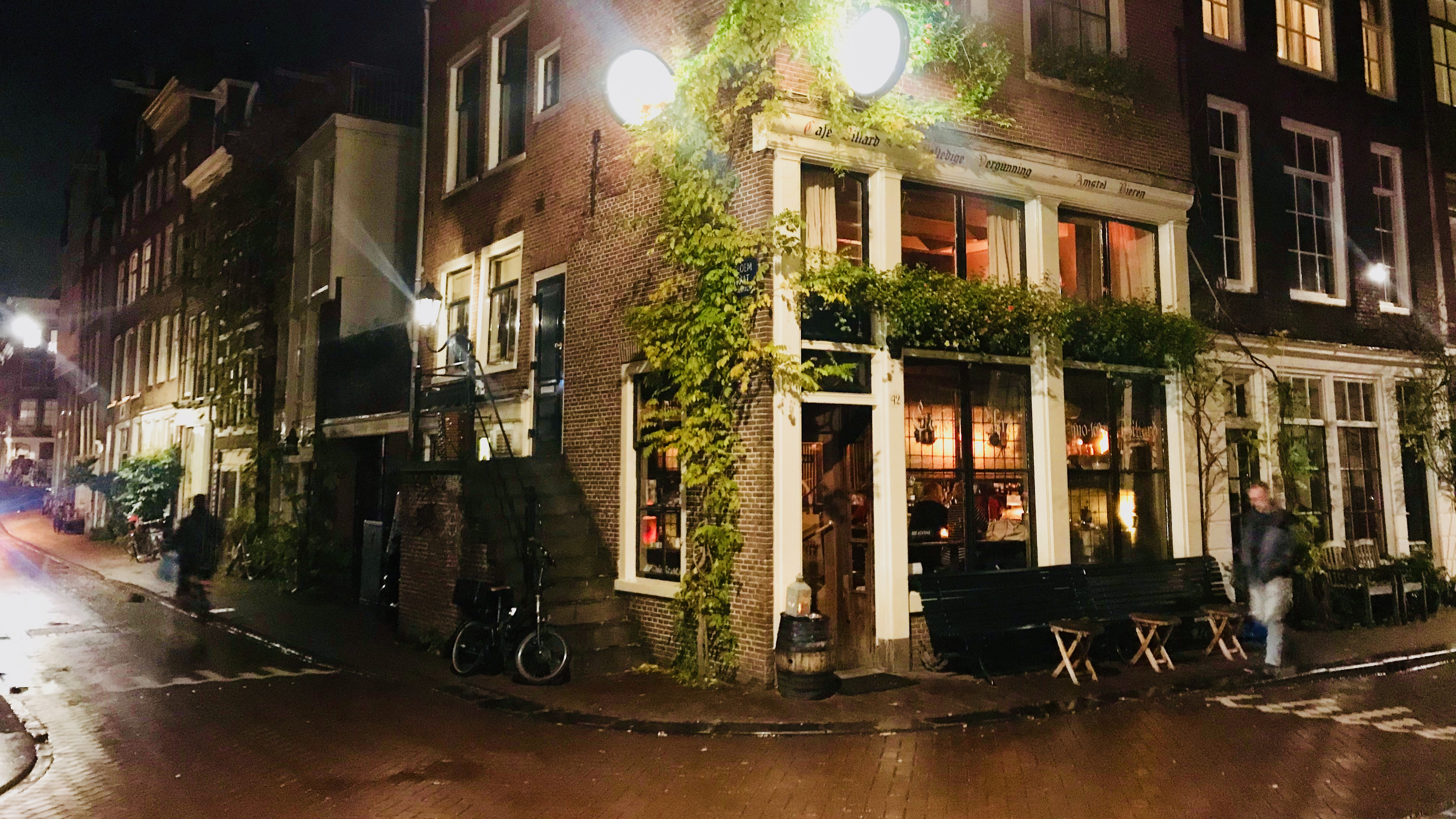 Exterior of one of the oldest brown bars in Amsterdam, Café Chris.