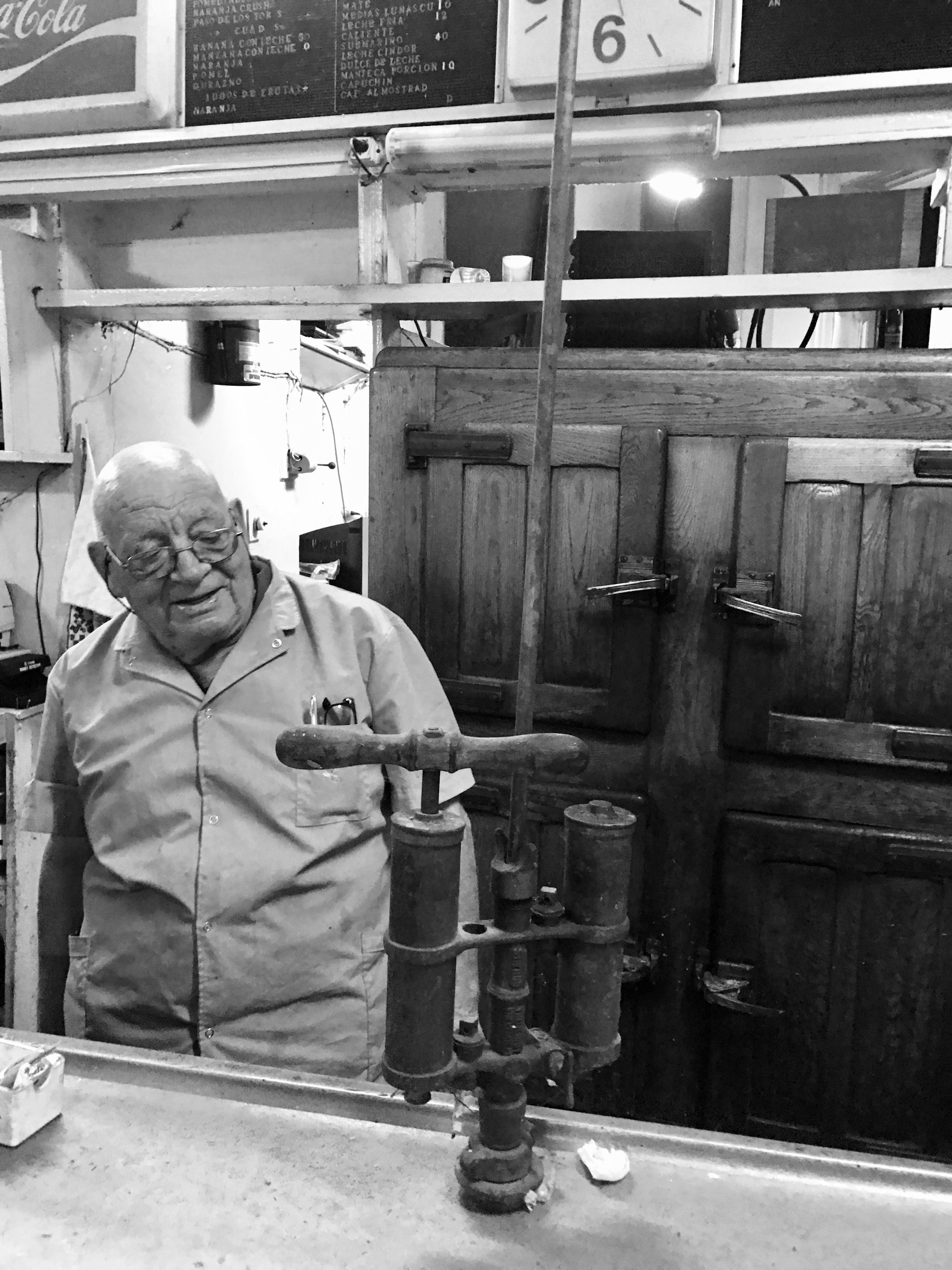 Owner Don Jesus Llamedo of bar Café Roma in Buenos Aires.