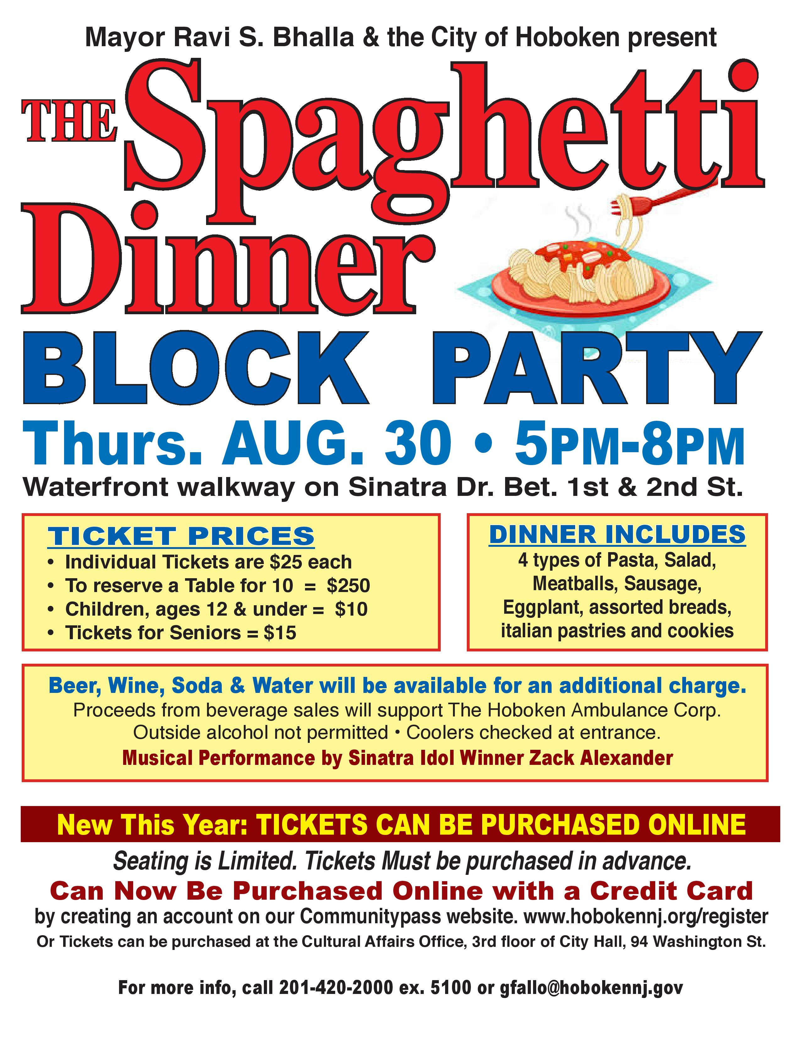 14th Annual Spaghetti Dinner On August 30