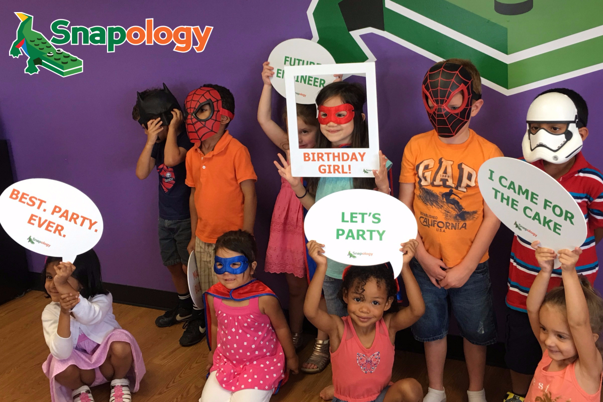 kids in costumes at a Snapology birthday party