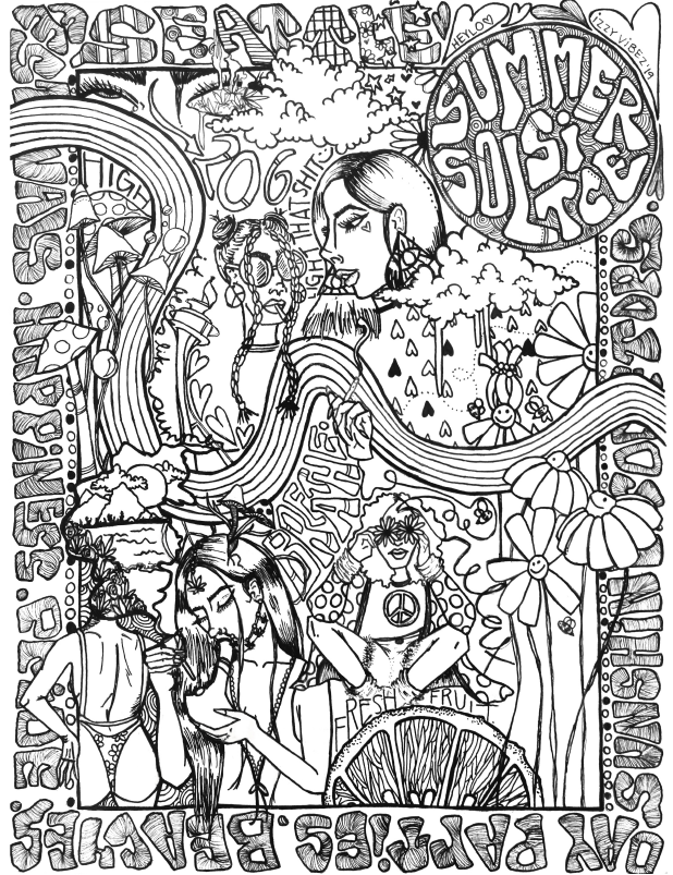 Seattle Summer coloring sheet cannabis strain inspired art