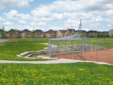 The park's well received design includes a baseball diamond and soccer field