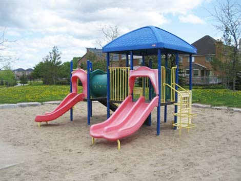 Wilclay Park neighbourhood park landscape design included playground structures for toddlers and young children