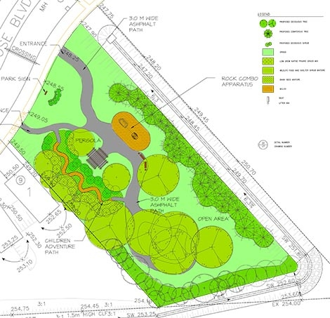 Subdivision neighbourhood park development planning by Judith S Wright Associates