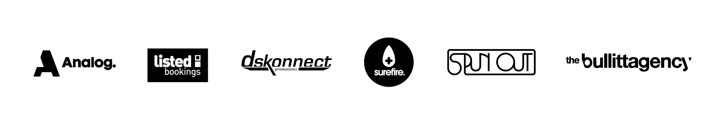 Logos for some of the world's best booking agencies that use Gigwell: Live Fast Entertainment, Heavy Talent, Bonsound, and Kiachia