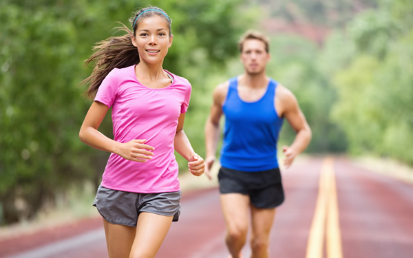Couple Running Breathing Easily