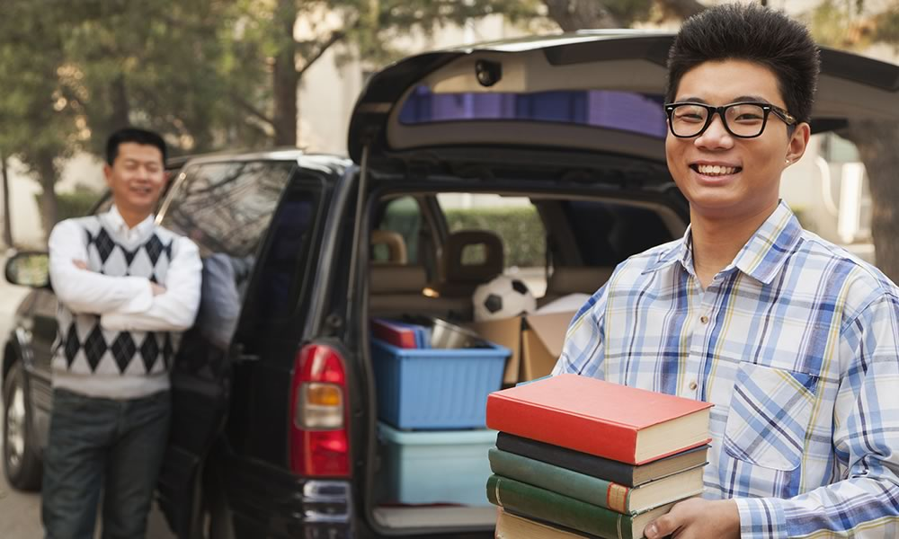 Son and father moving to college