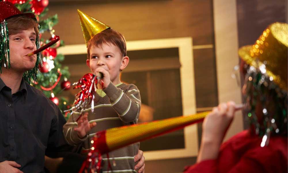 Family celebrating new years