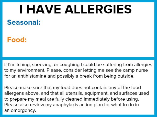 allergy card for camp
