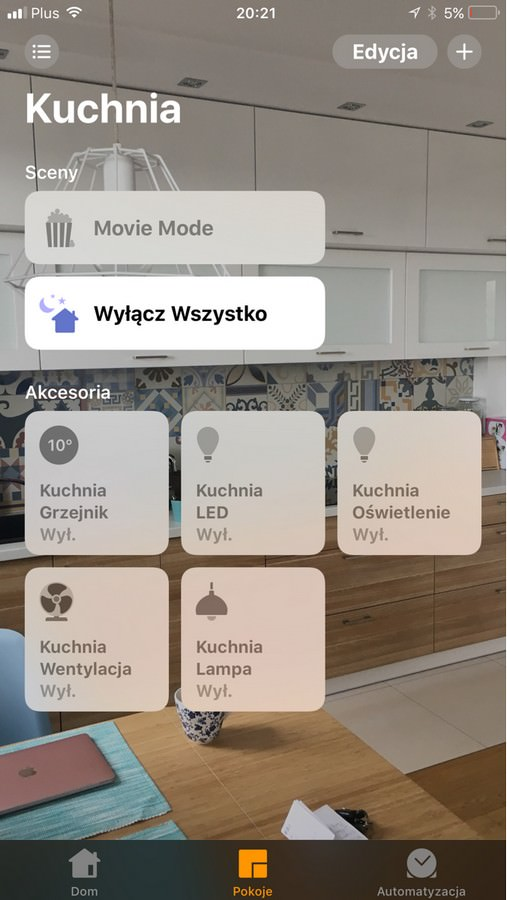 Screenshot z aplikacji Apple Homekit FIBARO Z-wave