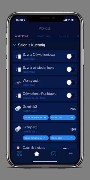Ekran główny aplikacji, sterowanie oświetleniem oraz ogrzewaniem