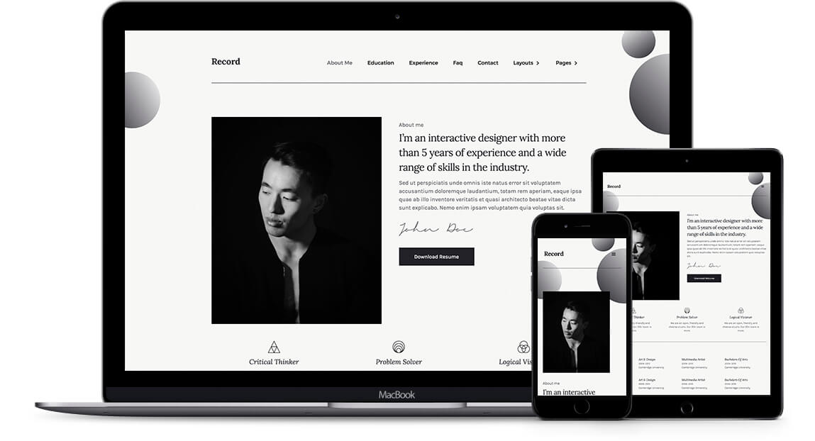 Record Resume Html5 Responsive Website Template