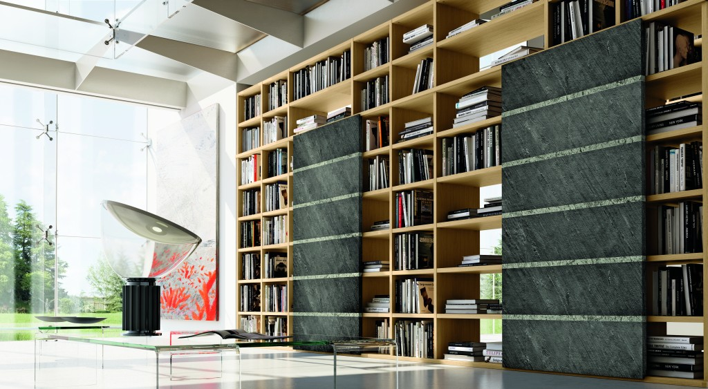 Photo d'une bibliothèque en bois et pierre