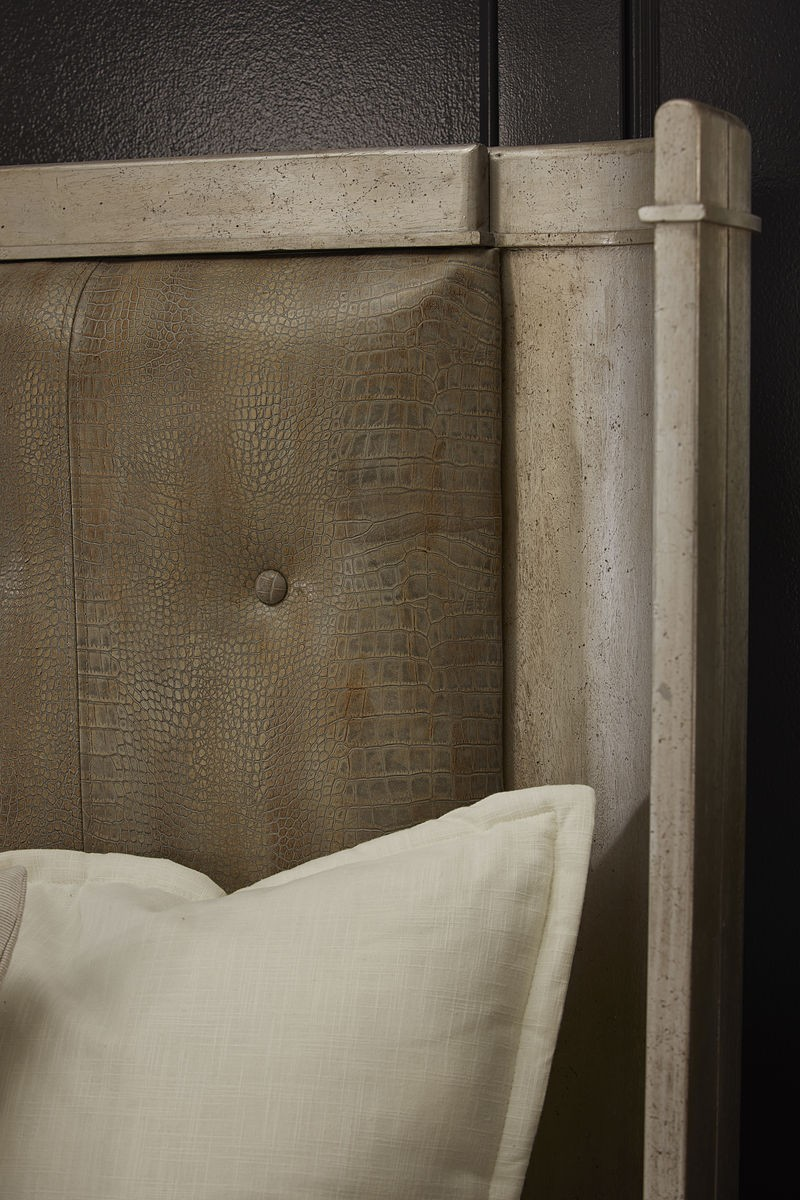 Morrissey Queen Lloyd Upholstered Shelter Bed Headboard Details