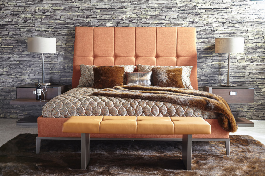 Alta Bedroom orange bed straight overview