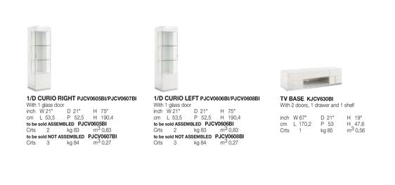 Canova TV Base and Curio Technical data