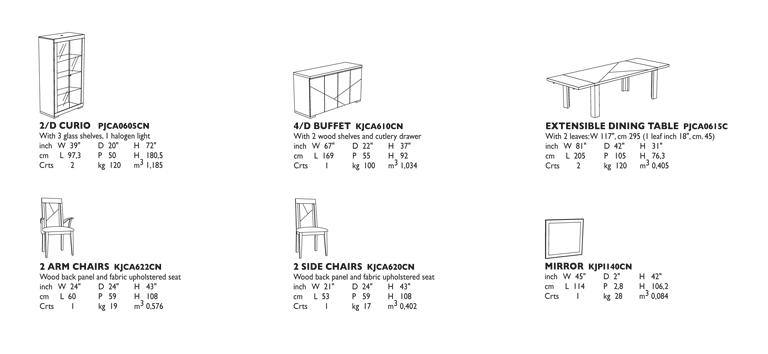 Capri Dining Room Technical data