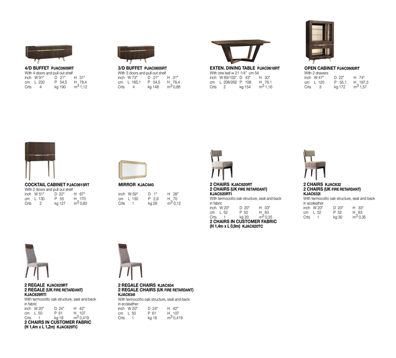 Accademia Dining Room Technical data