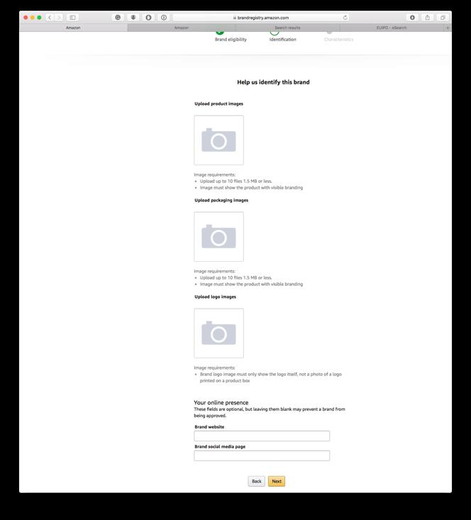 Amazon Brand Industry upload afbeeldingen van uw product, verpakking en uw logo