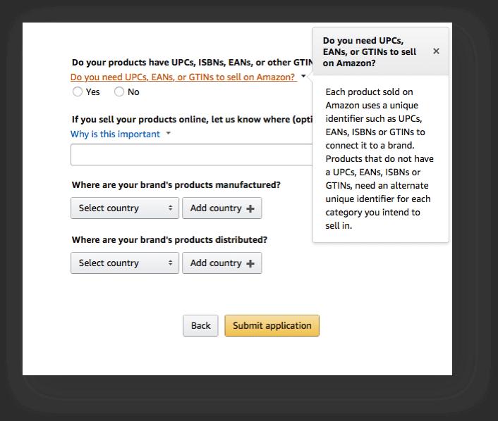 Amazon Brand Registry vul de EAN of ISBN nummers in voor uw product