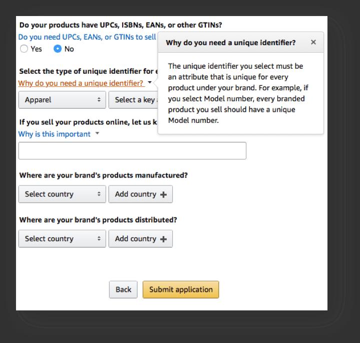 Amazon Brand Industry geef aan welke categorieën uw product thuis hoort