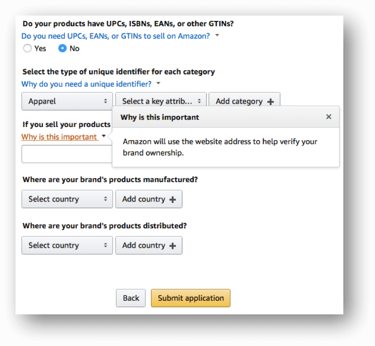 Amazon Brand Registry vul uw webadres in