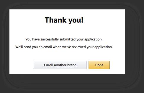 Amazon Brand Registry uw aanvraag is compleet
