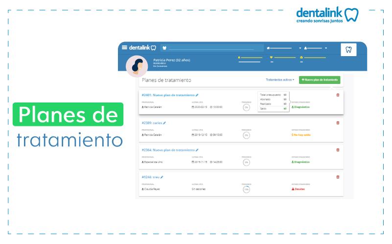planes de tratamiento software dentalink
