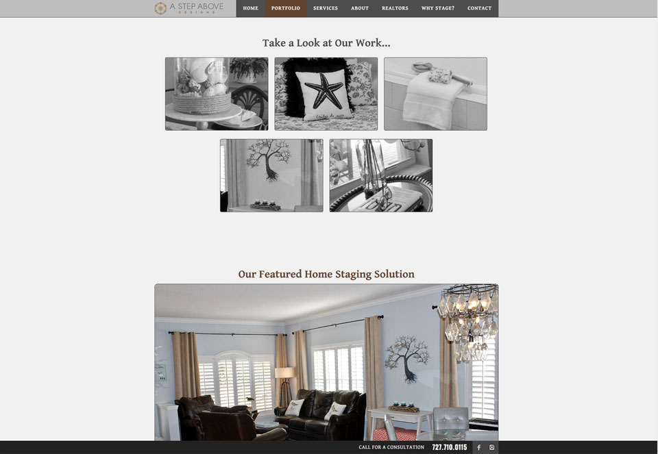 photo of website: A Step Above detail