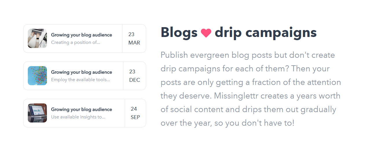 Missinglettr Blog Drip Campaigns