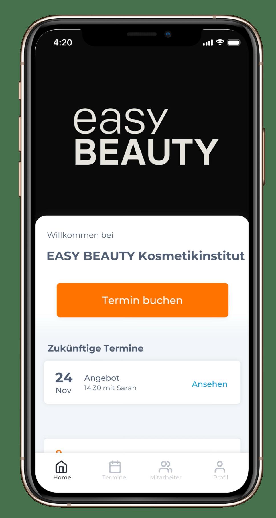 Easy Beauty Kosmetikinsitut online buchungs app für das Iphone und Android Handies