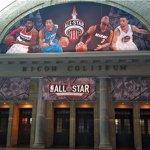 photo of NBA massive hanging structure at Ricoh Coliseum