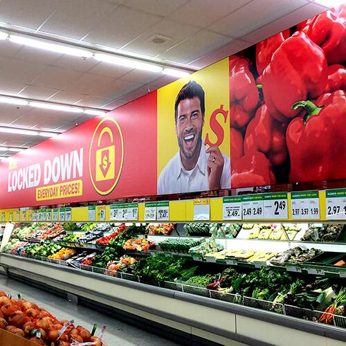 photo of Food Basics huge hanging signs