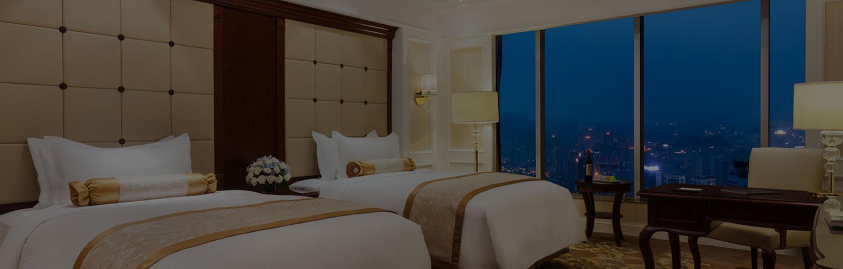 Hotel photography of the executive room twin beds at Kempinski Hotel Guiyang in China